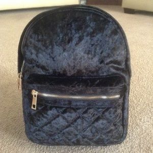 New Black Crushed Velvet Small Backpack